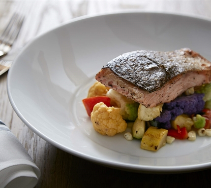 Seared Salmon over vegetables